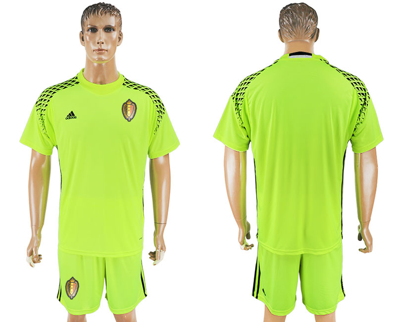 Belgium Fluorescent Green Goalkeeper 2018 FIFA World Cup Soccer Jersey Any Name and Number Can Do