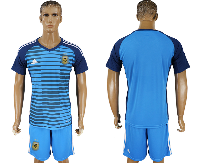 Argentina Lake Blue Goalkeeper 2018 FIFA World Cup Soccer Jersey Any Number and Number Can Do