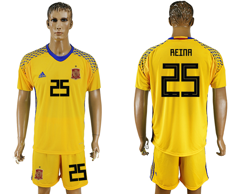 Spain 25 REINA Yellow Goalkeeper 2018 FIFA World Cup Soccer Jersey Any Name and Number Can Do