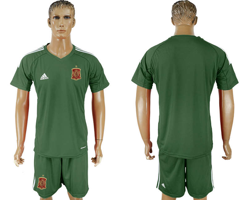 Spain Military Green Goalkeeper 2018 FIFA World Cup Soccer Jersey Any Number and Number Can Do