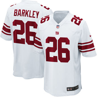 Men's New York Giants #26 Saquon Barkley Nike White 2018 NFL Draft First Round Pick Game Jersey