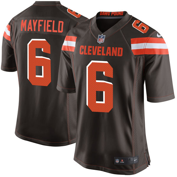 Nike Browns 6 Baker Mayfield Brown Youth 2018 Draft Pick Game Jersey