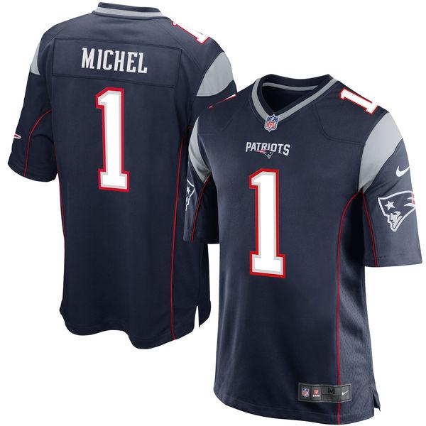 Nike New England Patriots #1 Sony Michel 2018 NFL Draft Pick Navy Blue Elite Jersey