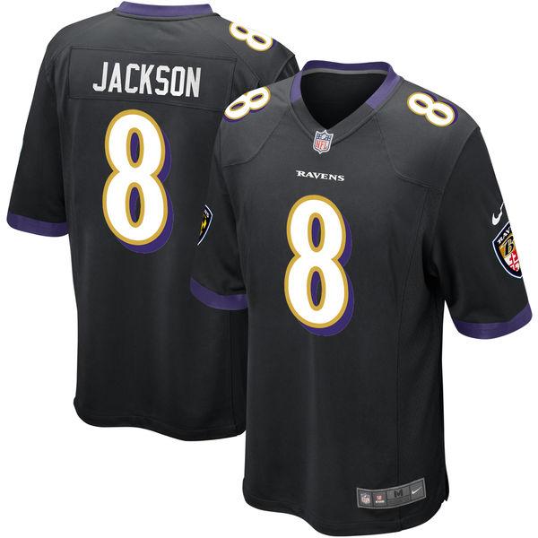 Nike Baltimore Ravens #8 Lamar Jackson 2018 NFL Draft Pick Black Elite Jersey
