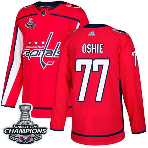 Men's Washington Capitals #77 T.J. Oshie Red Authentic Stanley Cup Final Champions Stitched Adidas NHL Jersey