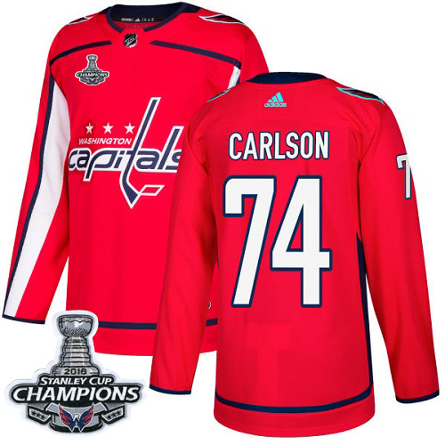 Men's Washington Capitals #74 John Carlson Red Authentic Stanley Cup Final Champions Stitched Adidas NHL Jersey
