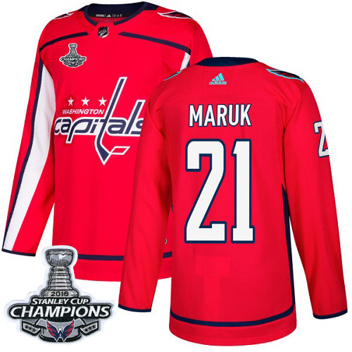 Men's Washington Capitals #21 Dennis Maruk Red Authentic Stanley Cup Final Champions Stitched Adidas NHL Jersey