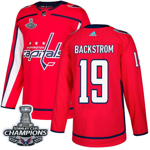Men's Washington Capitals #19 Nicklas Backstrom Red Authentic Stanley Cup Final Champions Stitched Adidas NHL Jersey
