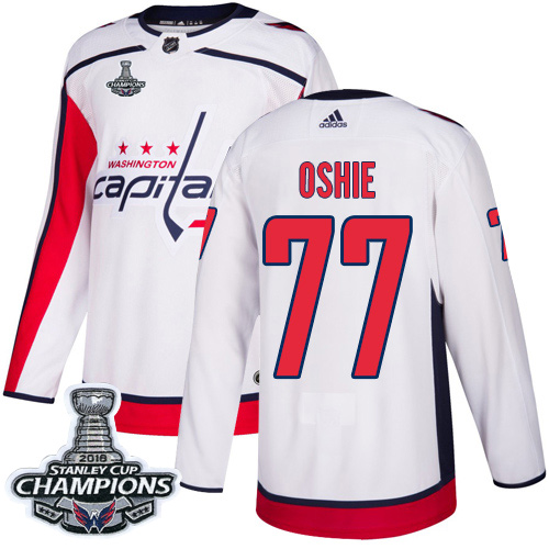 Men's Washington Capitals #77 T.J. Oshie White Road Authentic Stanley Cup Final Champions Stitched Adidas NHL Jersey