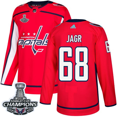 Men's Washington Capitals #68 Jaromir Jagr  Red Authentic Stanley Cup Final Champions Stitched Adidas NHL Jersey