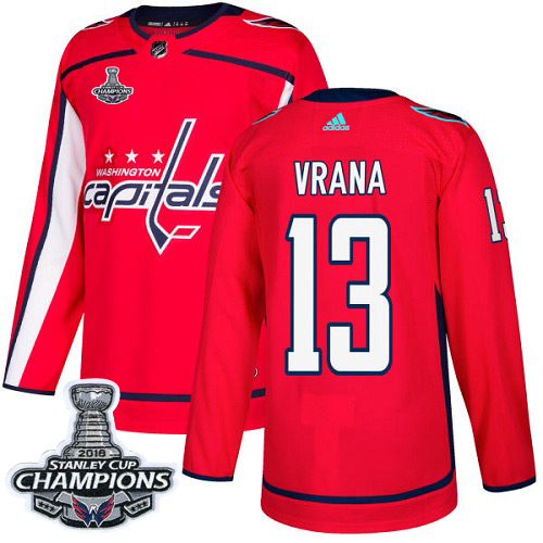 Men's Washington Capitals #13 Jakub Vrana Red Authentic Stanley Cup Final Champions Stitched Adidas NHL Jersey