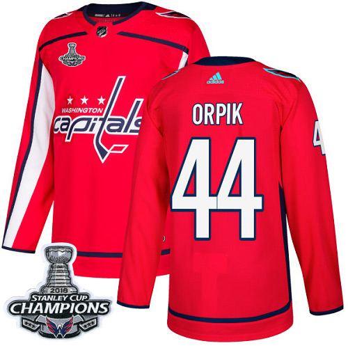Men's Washington Capitals #44 Brooks Orpik Red Authentic Stanley Cup Final Champions Stitched Adidas NHL Jersey