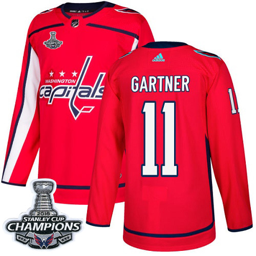 Men's Washington Capitals #11 Mike Gartner Red Authentic Stanley Cup Final Champions Stitched Adidas NHL Jersey