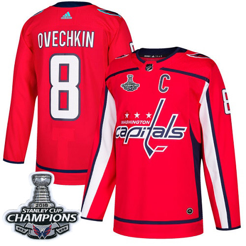 Men's Washington Capitals #8 Alex Ovechkin Red Authentic Stanley Cup Final Champions Stitched Adidas NHL Jersey