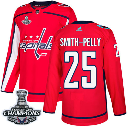 Men's Washington Capitals #25 Devante Smith-Pelly Red Authentic Stanley Cup Final Champions Stitched Adidas NHL Jersey