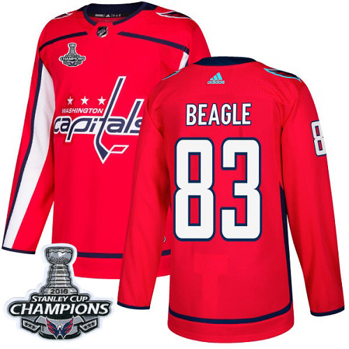 Men's Washington Capitals #83 Jay Beagle Red Authentic Stanley Cup Final Champions Stitched Adidas NHL Jersey