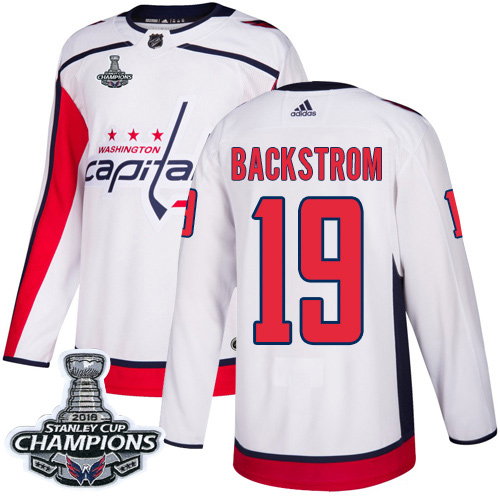 Men's Washington Capitals #19 Nicklas BackstromWhite Road Authentic Stanley Cup Final Champions Stitched Adidas NHL Jersey