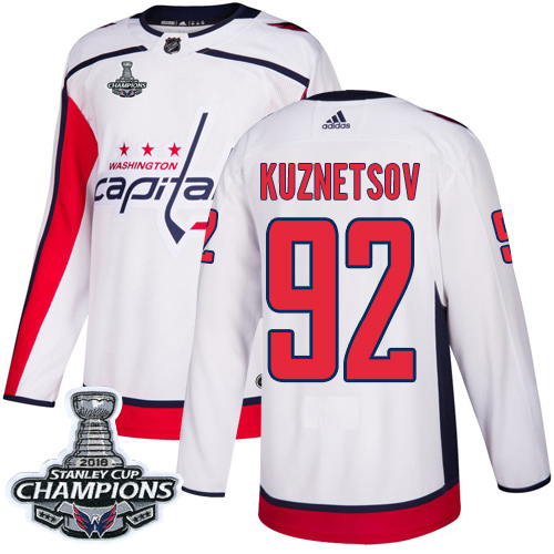 Men's Washington Capitals #92 Evgeny Kuznetsov White Road Authentic Stanley Cup Final Champions Stitched Adidas NHL Jersey