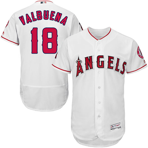 Men's LA Angels of Anaheim #18 Luis Valbuena White MLB Flexbase Authentic Collection Stitched Jerse