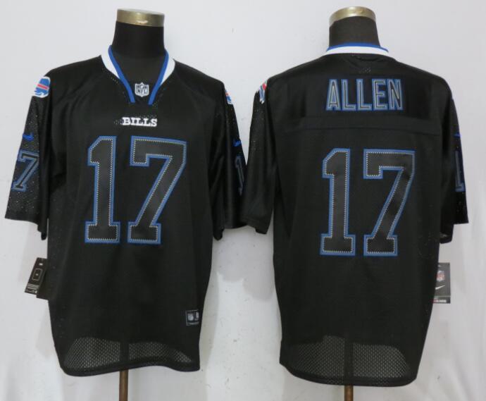 Nike Buffalo Bills #17 Josh Allen Lights Out Elite Black Jerseys