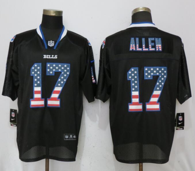 Nike Buffalo Bills #17 Josh Allen USA Flag Fashion Elite Black Jersey