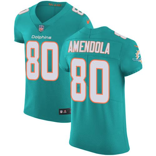 Nike Miami Dolphins #80 Danny Amendola Aqua Men's Stitched NFL Vapor Untouchable Elite Green Team Color Jersey