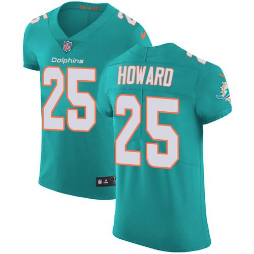 Nike Miami Dolphins #25 Xavien Howard Aqua Men's Stitched NFL Vapor Untouchable Elite Green Team Color Jersey