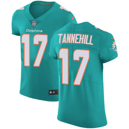Nike Miami Dolphins #17 Ryan Tannehill Aqua Men's Stitched NFL Vapor Untouchable Elite Green Team Color Jersey