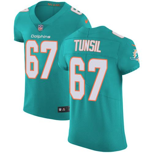 Nike Miami Dolphins #67 Laremy Tunsil Aqua Men's Stitched NFL Vapor Untouchable Elite Green Team Color Jersey