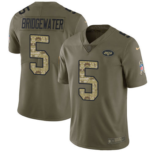 Nike New York Jets Men's Stitched NFL Limited 2017 Salute To Service #5 Teddy Bridgewater Olive Camo Jersey