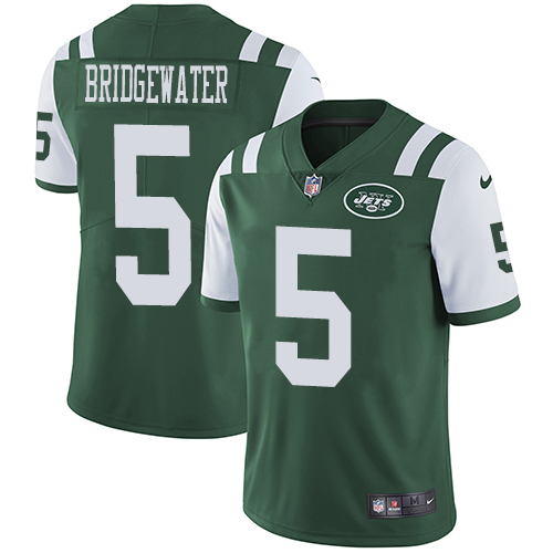 Nike New York Jets Men's Stitched NFL Vapor Untouchable Limited #5 Teddy Bridgewater Green Team Color Jersey
