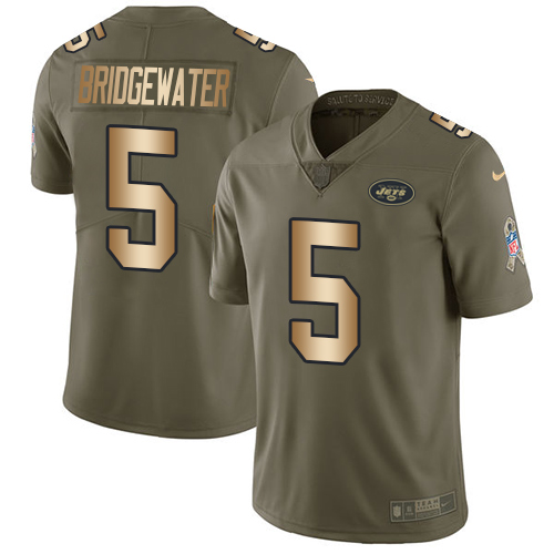 Nike New York Jets Men's Stitched NFL Limited 2017 Salute To Service #5 Teddy Bridgewater Olive Gold Jersey