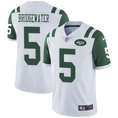 Nike New York Jets Men's Stitched NFL Vapor Untouchable Limited #5 Teddy Bridgewater White Jersey