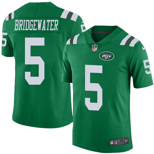 Nike New York Jets Men's Stitched NFL Limited Rush #5 Teddy Bridgewater Green Jersey