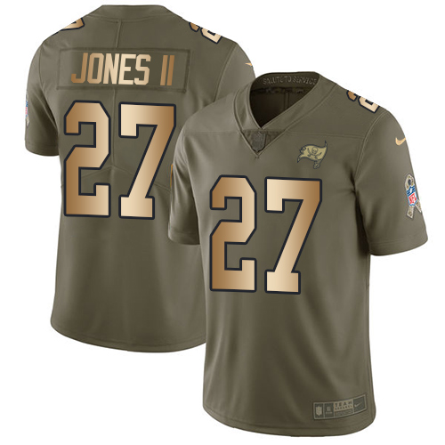 Nike Tampa Bay Buccaneers Men's Stitched NFL Limited 2017 Salute To Service #27 Ronald Jones II Olive Gold Jersey