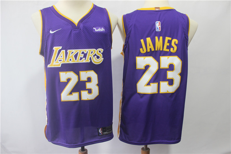 Youth Lakers #23 Lebron James Purple Nike Authentic Jersey