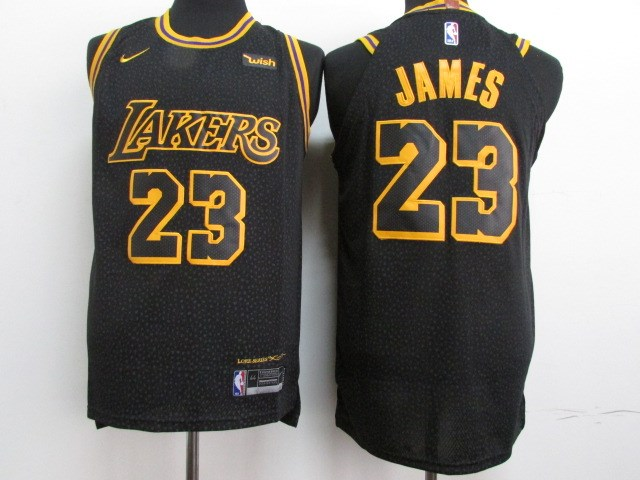 Youth Lakers #23 Lebron James Black Nike Authentic Jersey