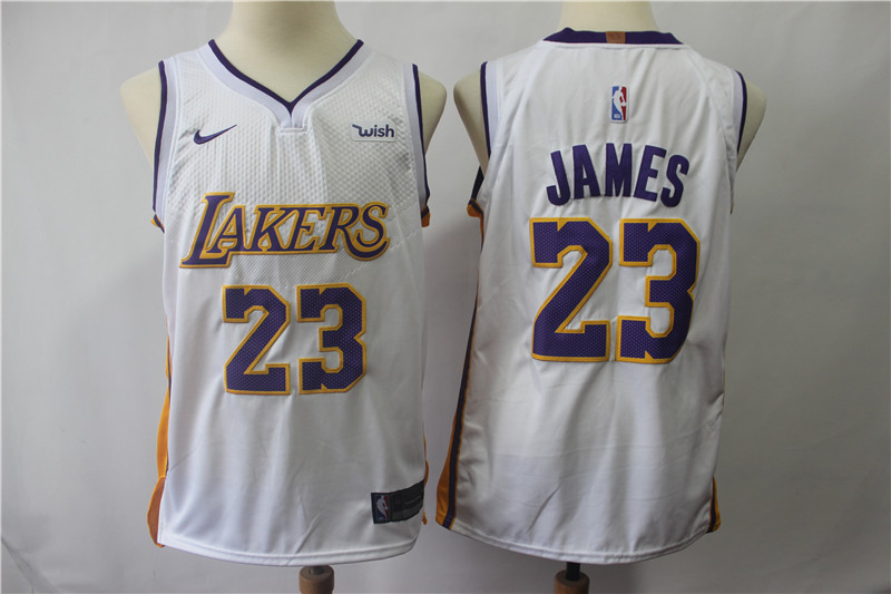 Youth Lakers #23 Lebron James White Nike Authentic Jersey