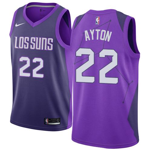 Men's Phoenix Suns #22 Deandre Ayton Purple Nike NBA Swingman City Edition Jersey