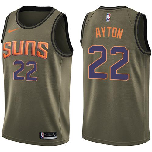 Men's Phoenix Suns #22 Deandre Ayton Green Nike NBA Swingman Salute to Service Jersey