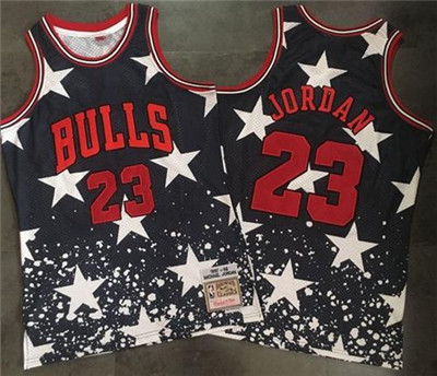 Bulls #23 Michael Jordan Navy Throwback 1997 4th of July Stitched NBA Jersey