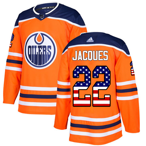 Adidas Edmonton Oilers #22 Jean-Francois Jacques Home Authentic USA Flag Stitched NHL Orange Jersey