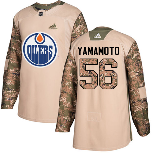 Adidas Edmonton Oilers #56 Kailer Yamamoto Authentic 2017 Veterans Day Stitched NHL Camo Jersey