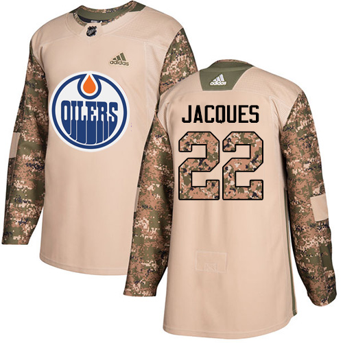 Adidas Edmonton Oilers #22 Jean-Francois Jacques Authentic 2017 Veterans Day Stitched NHL Camo Jersey