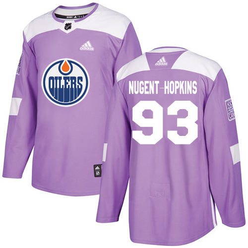 Adidas Edmonton Oilers #93 Ryan Nugent-Hopkins Authentic Fights Cancer Stitched NHL Purple Jersey