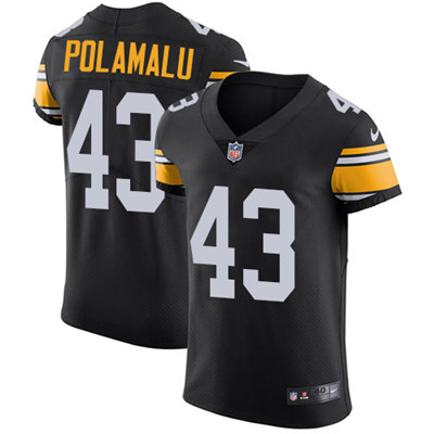 Men's Steelers #43 Troy Polamalu Black Alternate Stitched Nike NFL Vapor Untouchable Elite Jersey