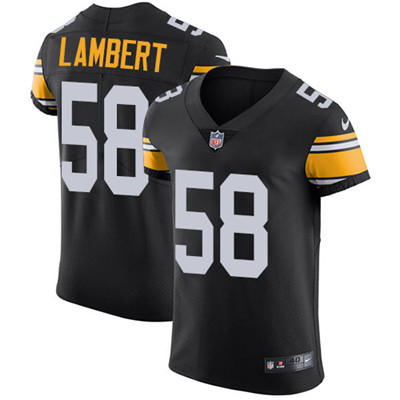 Men's Steelers #58 Jack Lambert Black Alternate Stitched Nike NFL Vapor Untouchable Elite Jersey