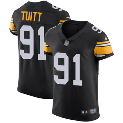 Men's Steelers #91 Stephon Tuitt Black Alternate Stitched Nike NFL Vapor Untouchable Elite Jersey