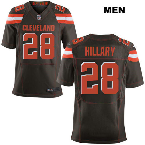 Nike Cleveland Browns #28 Darius Hillary Brown Stitched Men's NFL Elite Jersey