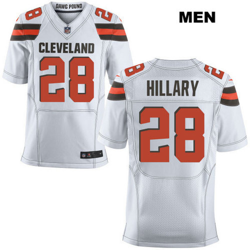 Nike Cleveland Browns #28 Darius Hillary White Stitched Men's NFL Elite Jersey